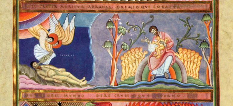 Lazzaro ed il ricco Epulone, illustrazione dall'Evangeliario di Echternach. Pannello superiore: Lazzaro alla porta dell'uomo ricco. Pannello centrale: L'anima di Lazzaro è trasportata in Paradiso da due angeli; Lazzaro nel petto di Abramo. Pannello inferiore: L'anima del ricco è trasportata da due diavoli all'inferno; il ricco è torturato nell'inferno.